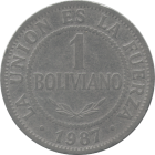 BOLIVIA, PLURINATIONAL STATE OF - 1987 - 1 Boliviano - Obverse